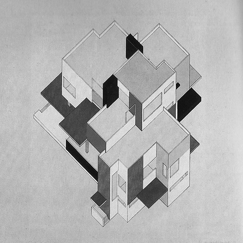 Cornelis van Eesteren y Theo van Doesburg, Dibujo axonométrico, Maison Particulière, 1923. Fuente Friedman, De Stijl 1917-1931. Visiones de utopía, 86.