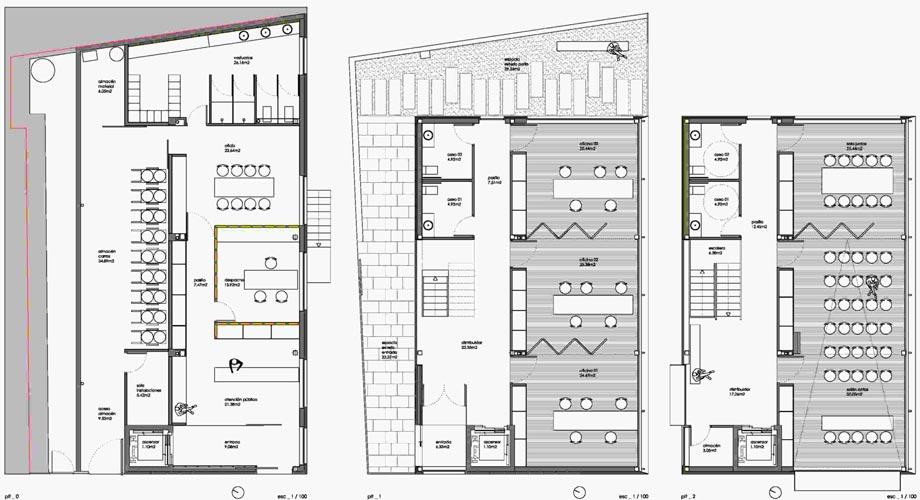 Edificio administrativo 2es oficina de arquitectura for Plantas de oficinas arquitectura