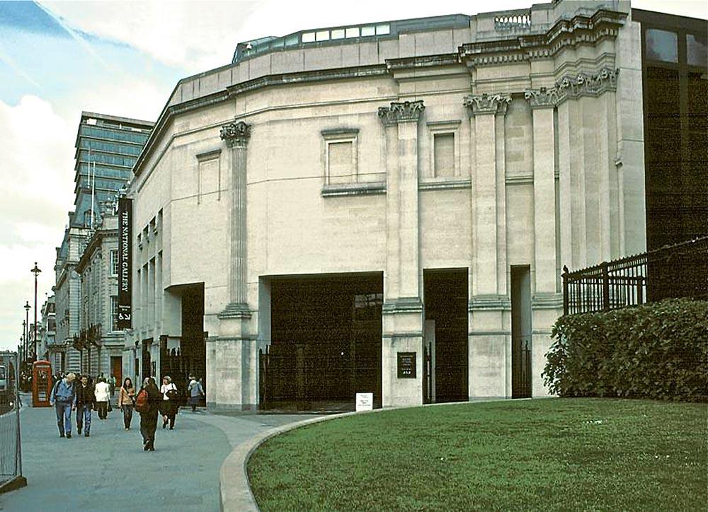 """Neo-clasicismo """"fake"""" La ampliación de la National Gallery de Londres (1991) de Robert Venturi (1925"""