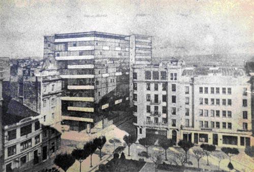 Proyecto del edificio de viviendas en la Plaza de Vigo (1957) de Ramón Vázquez Molezún y José Antonio Corrales Gutiérrez ©Legado Ramón Vázquez Molezún. Servicio Histórico del Colegio Oficial de Arquitectos de Madrid)