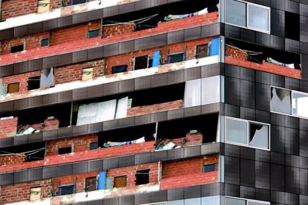 Torre V en Eindhoven mostrando la invasión por hordas pobres venidas del Sur una vibrante