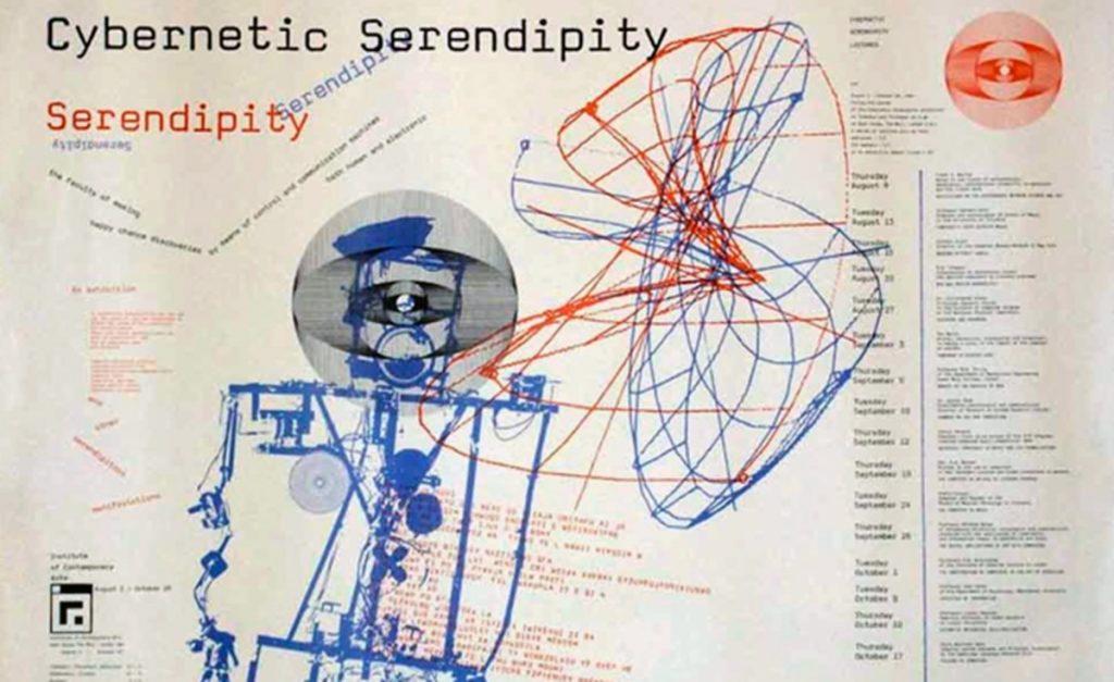 Cartel de apertura de la exposición Cybernetic Serendipity inaugurada en el ICA de Londres en 1968 y comisariada por Jasia Reichardt