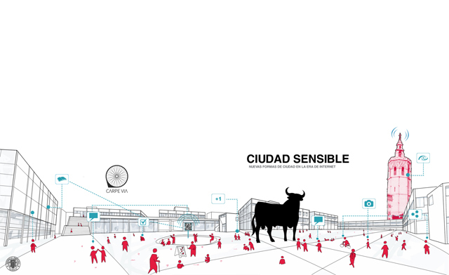 Cartel del evento Nuevas formas de ciudad en la era de internet celebrado el pasado mes de Abril en Valencia | ecosistemaurbano.org