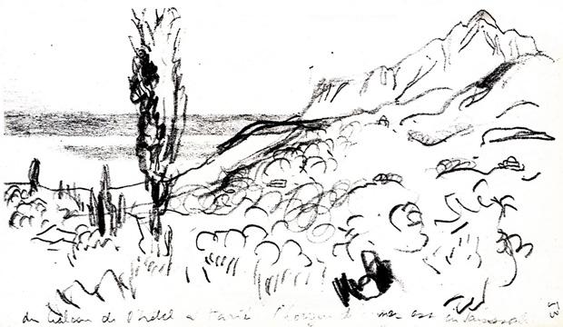 Boceto de monte Athos desde el hotel Karyes. Procedencia: JEANNERET, Ch.-Edouard, Voyage d' Orient Carnets, Electraarchitecture, Foundation L.C. Milano, 2002. Carnet 3 .p.53