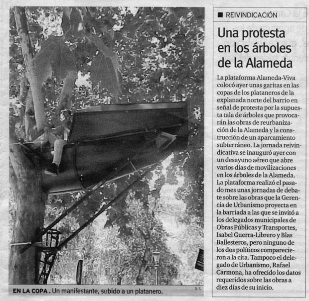 """""""La Casa Insecto o la estrategia de la Garrapata"""" (Sevilla 2001) fue un proyecto de ocupación de árboles que tuvo gran difusión entre los medios de comunicación"""