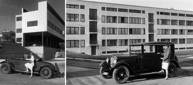 fotografas de edificios en la weissenhof siedlung frente a obras de le corbusier y mies vander rohe