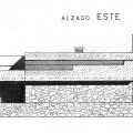 Alzado este, sin ampliación en cubierta (se observa cómo no existía el pilar exento)