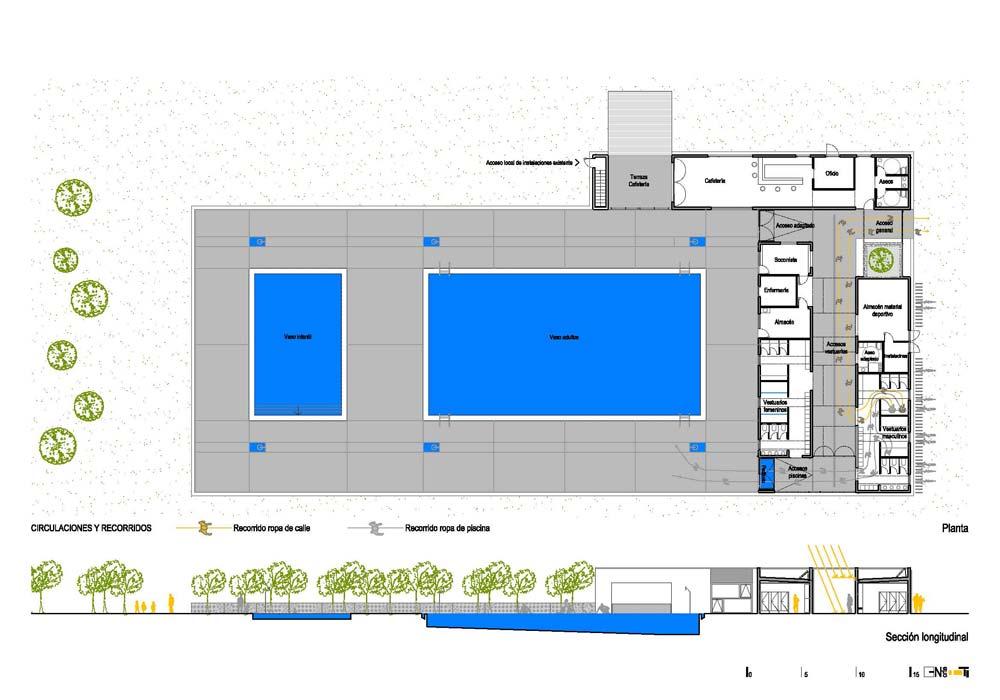reforma de vestuarios y piscina municipal en maceda On plano piscina