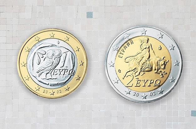 Monedas griegas de uno y dos euros (2001-...)