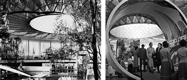 Imágenes del interior del pabellón. Derecha: fotografía de Wouter Hagens.