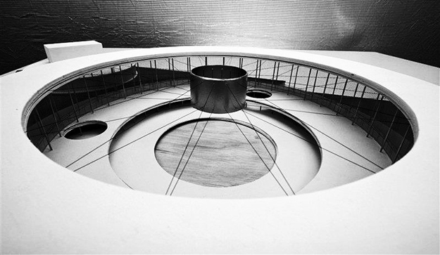 Maqueta del pabellón americano, detalle de la estructura de cubierta, 2010. © Peter Putman, Vakgroep Architectuur & Stedenbouw, Universiteit Gent . http://atomium.be/mini58.aspx