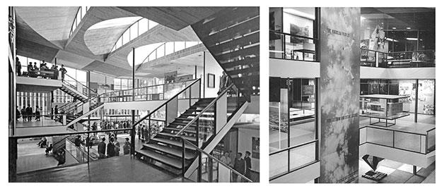 Espacio expositivo interior, con los lucernarios de la cubierta, presentes en casi todas las versiones del proyecto
