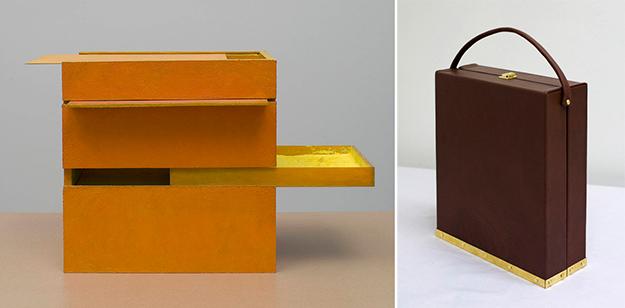 Helio Oiticica, B11 BOx Bólide 09, 1964 | Marcel Duchamp, Bôite en Valise cerrada, 1936-1941 y 1968.