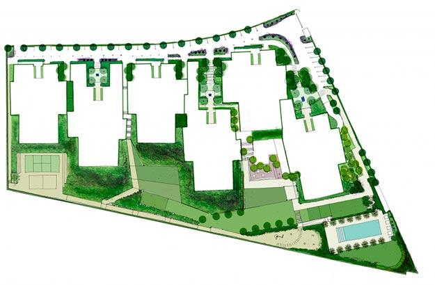 Propuesta de paisajismo para la promoción Alhena Valdemarín de Grupo Ibosa | Fotografía: La Habitación Verde