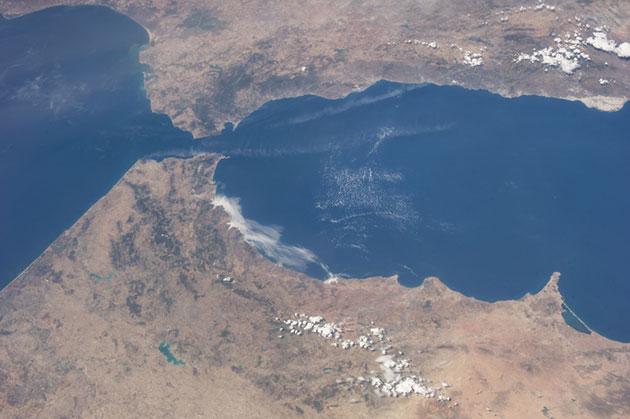 Vista satelite del Estrecho de Gibraltar | Fuente IMEDEA