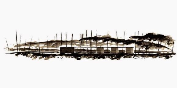 RCR Arquitectes. Aguatinta del pabellón de baño Tussols-Basil