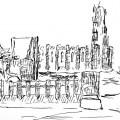 Dibujo de Kahn del Conjunto Catedral-Palacio de la Berbie, en Albi, Francia