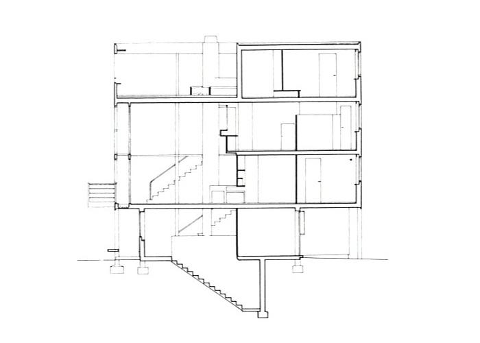 Sección Maison Citrohän en Weissenhofsiedlung en Stuttgart | Dibujos: ©FLC