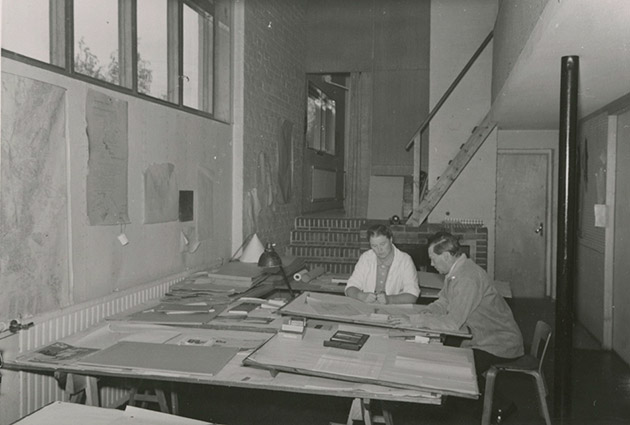 Aino Marsio-Aalto and Alvar Aalto in the architecture office, Aalto House, Helsinki, 1940s. Aalto Family Collection.