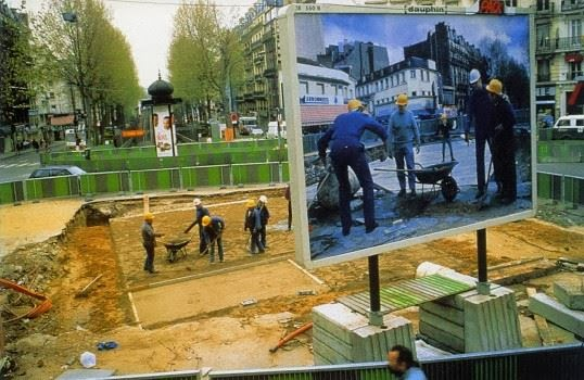 """Chantier Barbès-Rochechouart Billboard"", Pierre Huyghe, Paris 1994"