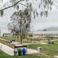 Vista del CREA, Polideportivo y Piscina desde el Parque