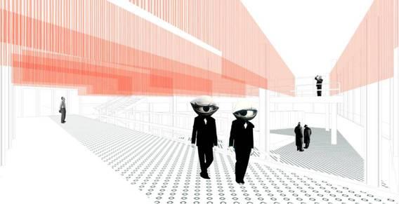Imagen del proyecto ganador del concurso abierto ¨dressing up¨del Espacio Congreso, en la Sede del Colegio Oficial de Arquitectos © A.Perich, R.Such y M.Neering