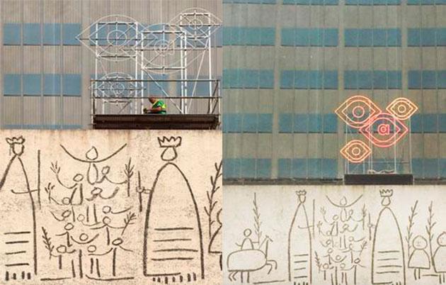 Montaje de la Imagen del Congreso de Arquitectura en la fachada del edificio del Colegio Oficial de Arquitectos de Cataluña. © Fernando Gil