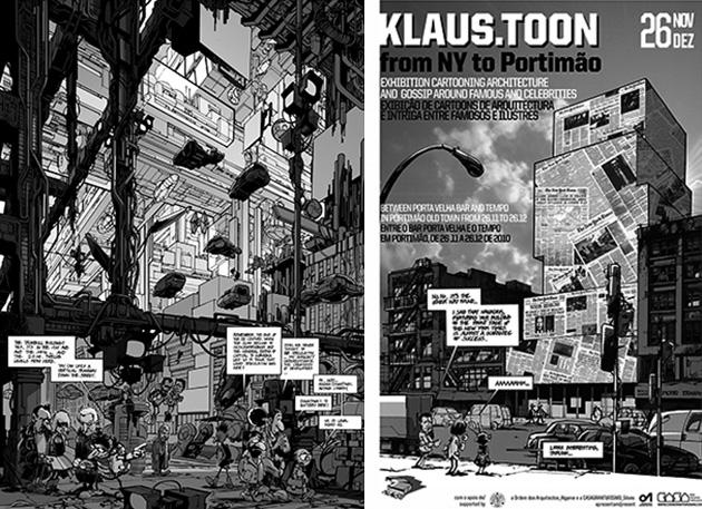 Dos de las viñetas publicadas en The New City Reader: '(Un)Real Estate' (The NCR: Real Estate, Noviembre de 2010), y la perteneciente al número de presentación (Editorial, Octubre 2010), reutilizada como cartel de una de las exposiciones dedicadas a Klaus.