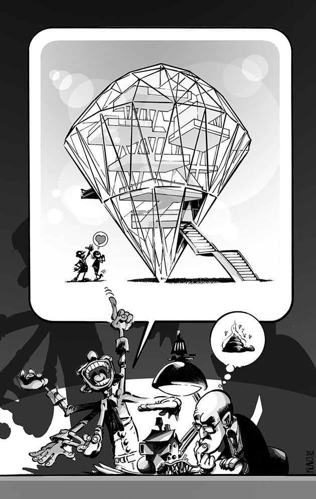 """La serie 'Numerus Klausus', (28 entregas, Uncube, 2013-2016) comenzó como comentario de la actualidad arquitectónica del momento, seleccionada de acuerdo con la temática de cada número de la revista. La entrega XXV, 'Another Brick in the World', aprovechaba el lema, 'bricks', para hacer referencia a la 'crisis del ladrillo' en España. """"LA editora me escribió para decirme que nadie lo había entendido"""", comenta Klaus."""
