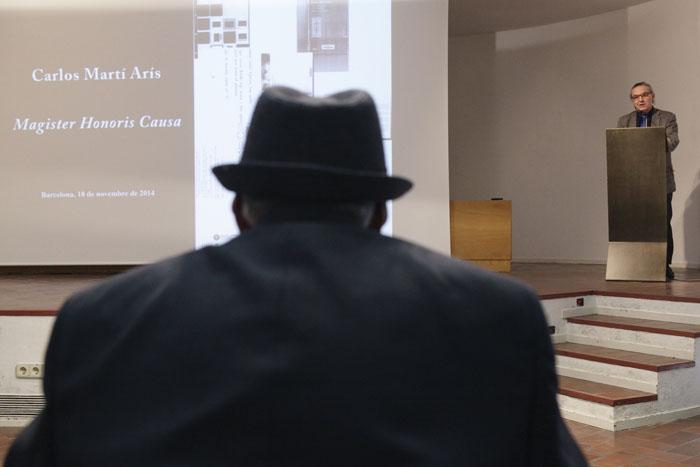 Carlos Martí Arís, en el acto de distinción como 'magister honoris causa' | Fuente: upc.edu