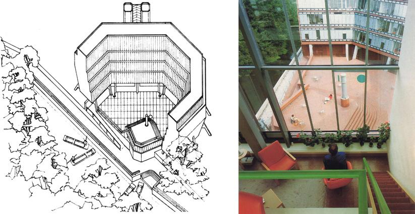 Axonometría del proyecto y vista del patio desde uno de los apartamentos dúplex del edificio Florey, con la veleta en su centro.