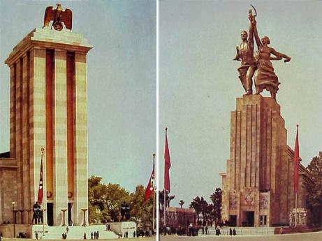 pabellones -también parecidos entre sí- de la URSS y la Alemania Nazi en la Exposición Universal de París de 1937.