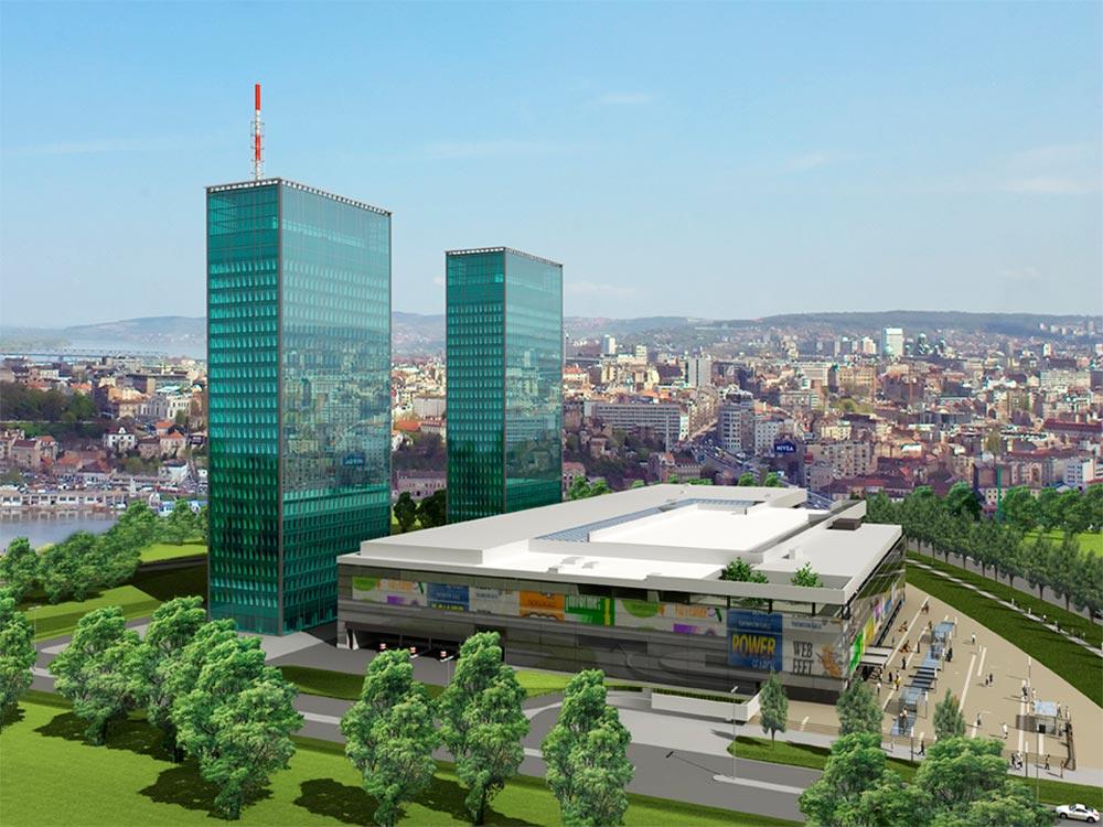 Proyecto para el centro comercial Ušće de 2003 con las torres gemelas