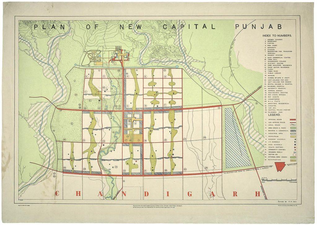 """Plan de Chandigarh recogido en """"Le Corbusier. Ideas and Forms"""""""