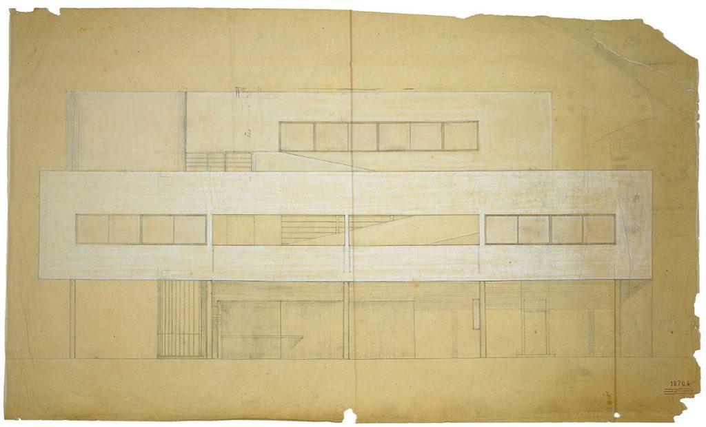"""Alzado de la Villa Savoye, recogido en """"Le Corbusier. Ideas and Forms"""""""