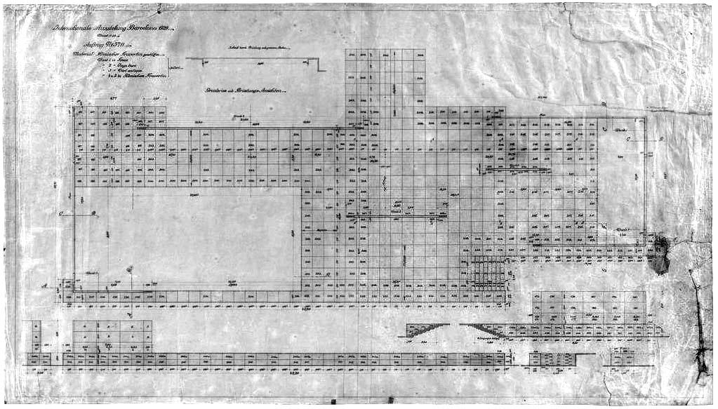 Planta con los despieces del pavimento de travertino del Pabellón de Barcelona (Archivo Mies van der Rohe – MoMA)