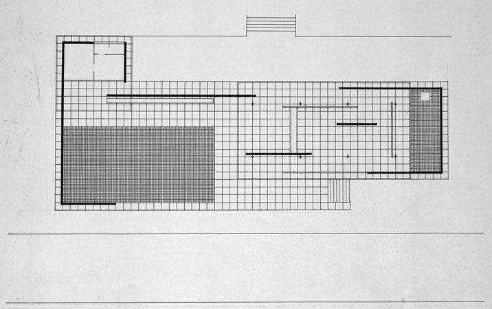 """Planta de una de las versiones """"definitivas"""" del Pabellón de Barcelona con el podium perimetral (Archivo Mies van der Rohe)"""