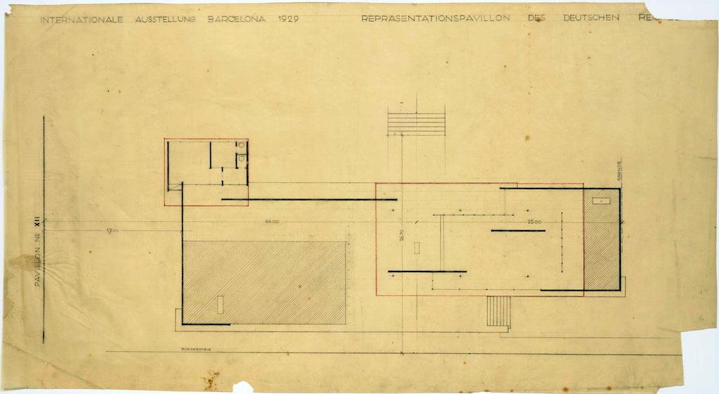 Planta de una de las versiones iniciales del Pabellón de Alemania con cotas referidas al emplazamiento de 1928 (Archivo Mies van der Rohe).