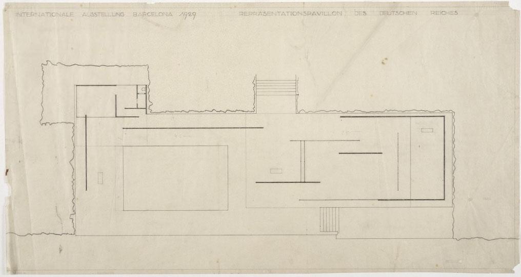 Planta del Pabellón de Barcelona en una de las versiones iniciales sin cuadrícula en el pavimento ni pilares cruciformes (Archivo Mies van der Rohe).