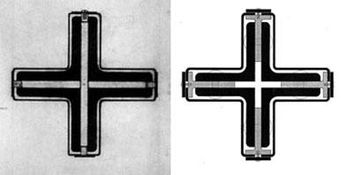 Sección horizontal comparativa entre la versión inicial y la final del pilar cruciforme del Pabellón de Barcelona.