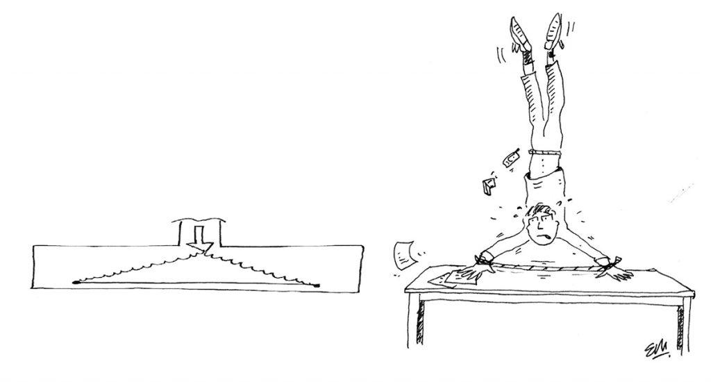 Los brazos del gimnasta, salvo si eres olímpico, no pueden generar un ángulo tan agudo, tenga o no tenga cuerda en las muñecas.