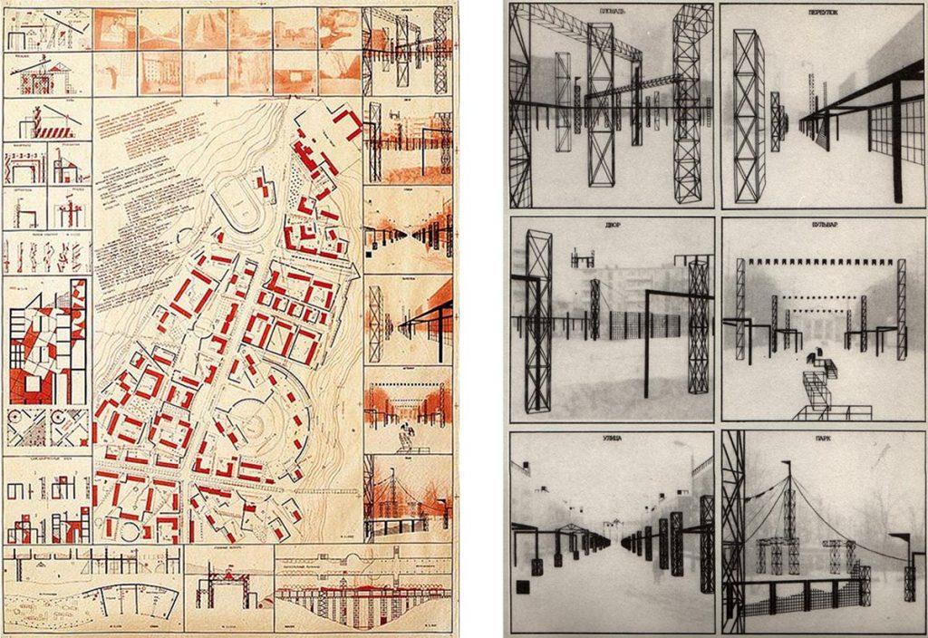 Y. Avvakumov y Estudio de estudiantes de MARKhI Ciudad-Club 1984. Detalles plaza, carril, patio, bulevar, calle, parque