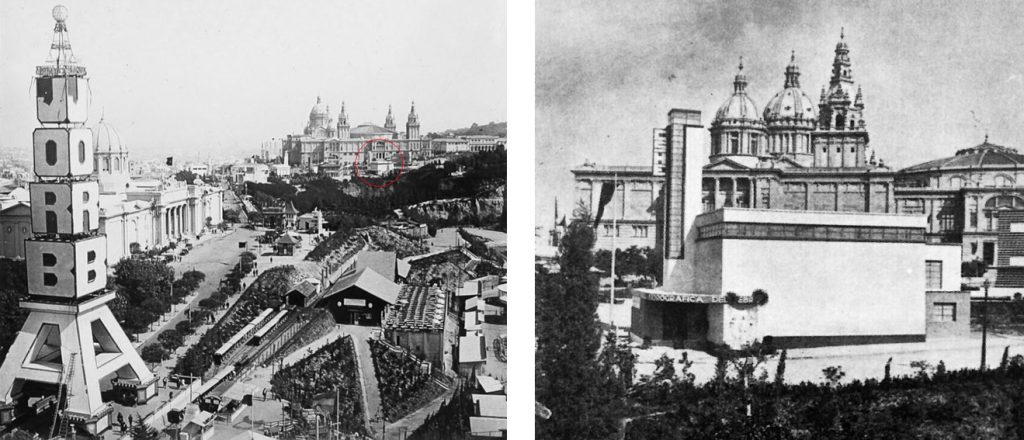 Vista del Pabellón para la C.H.E. con el Palau Nacional detrás y el Pabellón de Yugoslavia a la derecha.