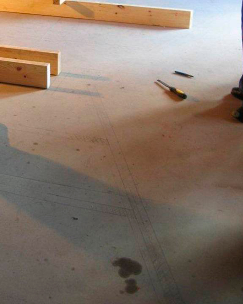 Dibujos de obra. Montajess pertenecientes a la obra de RVR Arquitectos en Porta da Pena. Santiago de Compostela, 2010 | Fotografías. Marcial Rodriguez- RVR Arquitectos