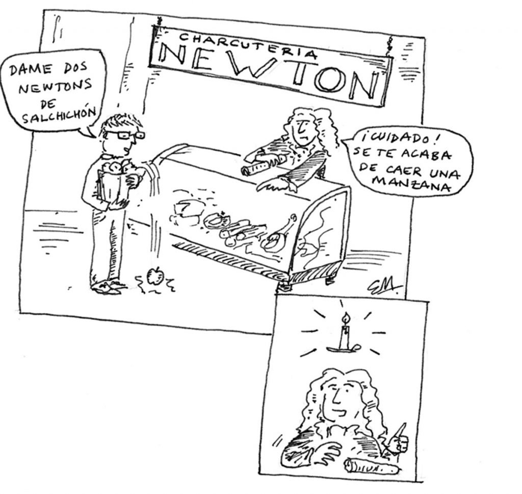 En la charcutería Newton el embutido se pide en newtons|Viñeta de Ed Marks