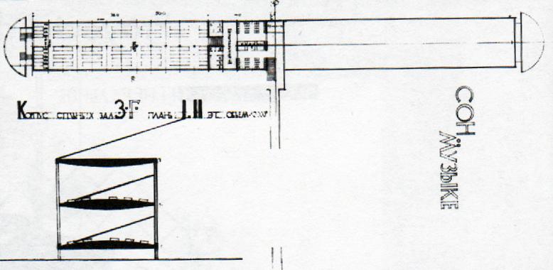 Dormitorio bloque, planta y sección
