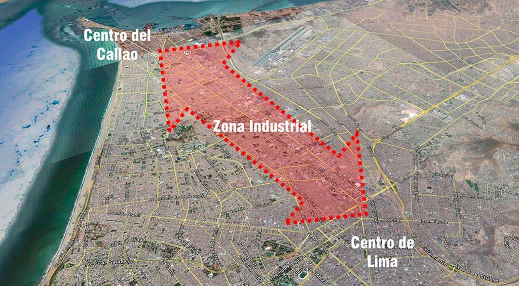 Esquema de ubicación de zona industrial del Cercado de Lima y Callao | Fuente: Google Earth 2017