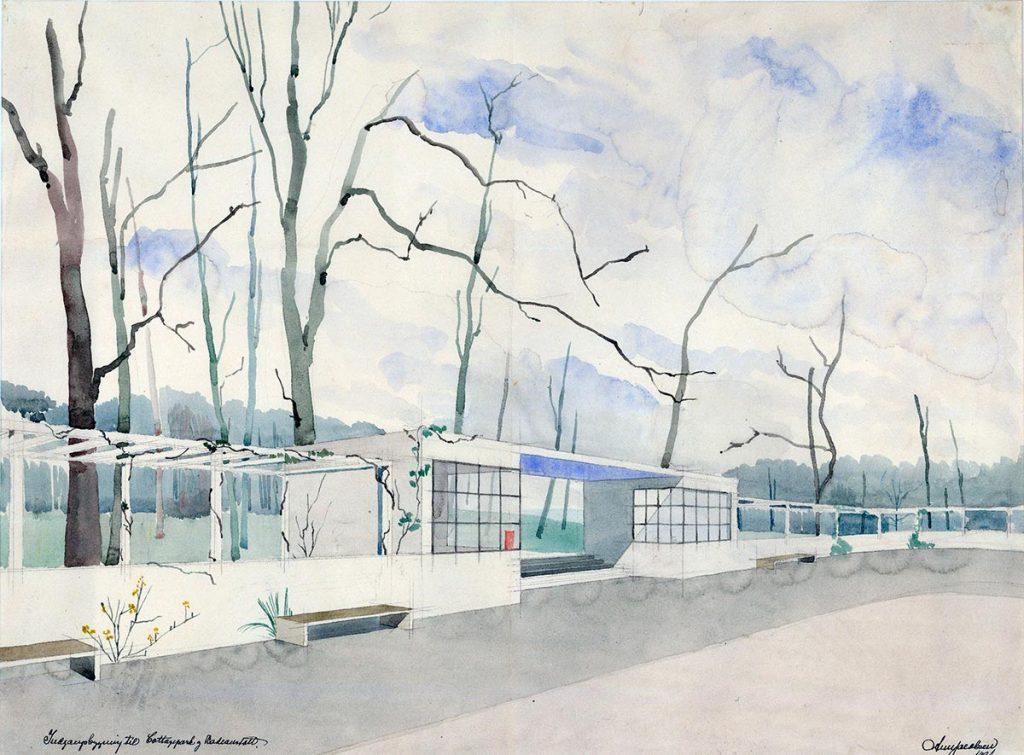 Acuarela del Pabellón de Acceso a la playa Bellevue según propuesta de Arne Jacobsen para el concurso de proyectos de 1931.