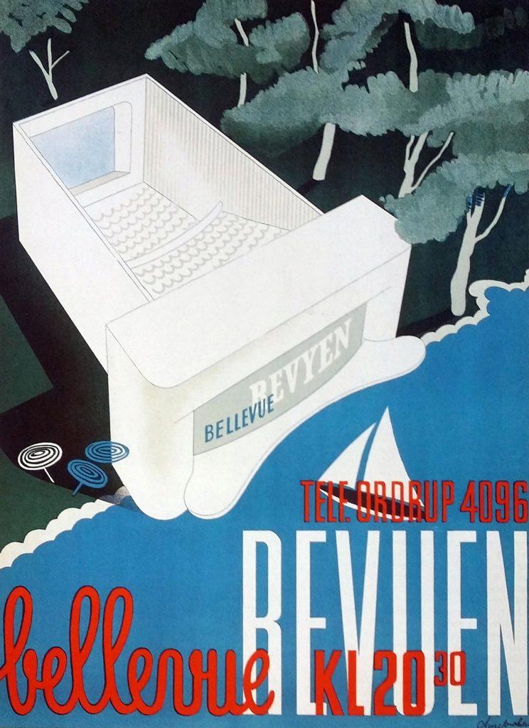 Cartel de los años 30 con el Teatro 'Bellevue' de Arne Jacobsen