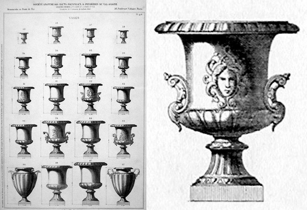 Vasos ornamentales de la fundición francesa de Vall d`Osne